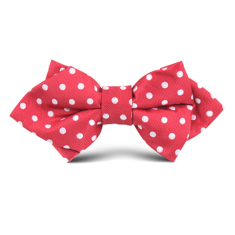 Royal Red Polkadot Kids Diamond Bow Tie