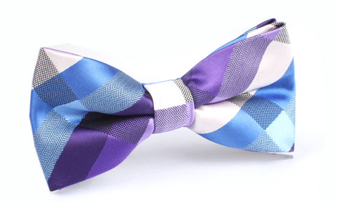 Royal Violet Checkered Bow Tie