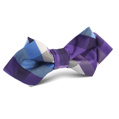 Royal Violet Checkered Diamond Bow Tie