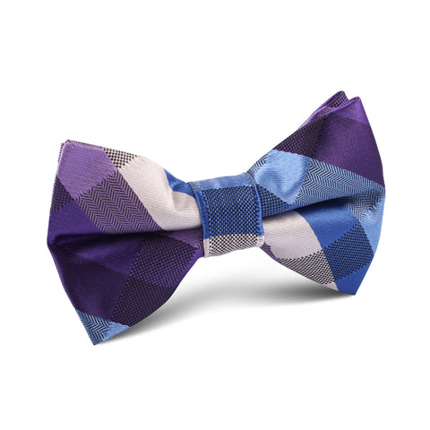 Royal Violet Checkered Kids Bow Tie