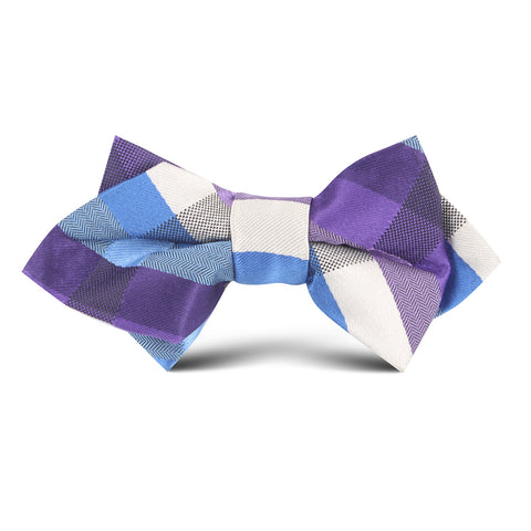 Royal Violet Checkered Kids Diamond Bow Tie