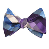 Royal Violet Checkered Self Tie Bow Tie Self tied knot by OTAA