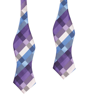 Royal Violet Checkered Self Tie Diamond Tip Bow Tie