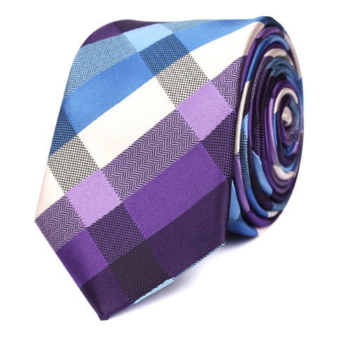 Royal Violet Checkered Skinny Tie