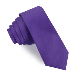 Royal Violet Purple Satin Skinny Tie
