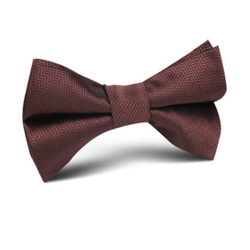 Russet Brown Herringbone Kids Bow Tie