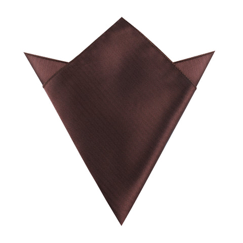 Russet Brown Herringbone Pocket Square