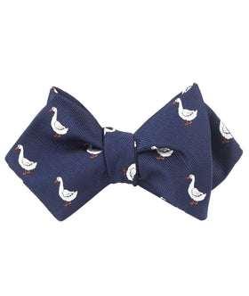 Russian White Goose Diamond Self Bow Tie