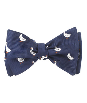 Russian White Goose Self Bow Tie