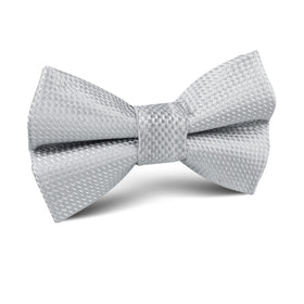 Rustic Light Gray Oxford Weave Kids Bow Tie