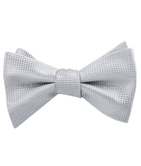 Rustic Light Gray Oxford Weave Self Bow Tie