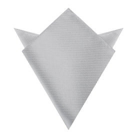 Rustic Light Gray Oxford Weave Pocket Square