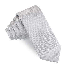 Rustic Light Gray Oxford Weave Skinny Tie