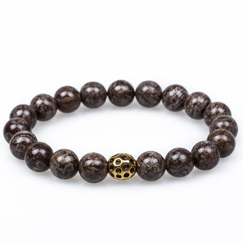Sabretooth Brown Charcoal Rutile Golden Lava Bracelet