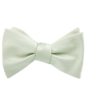 Sage Green Basket Weave Self Bow Tie