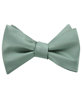 Sage Green Satin Self Bow Tie