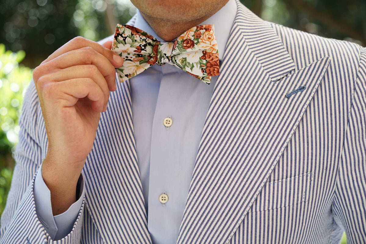 San Pietro Orange Floral Self Bow Tie