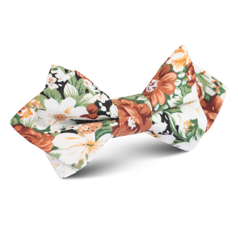 San Pietro Orange Floral Diamond Bow Tie