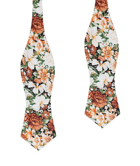 San Pietro Orange Floral Diamond Self Bow Tie