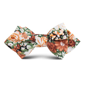 San Pietro Orange Floral Kids Diamond Bow Tie