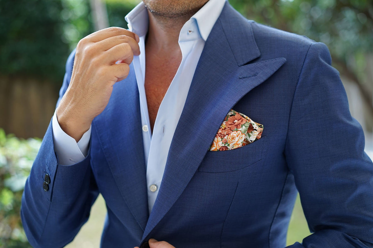 San Pietro Orange Floral Pocket Square
