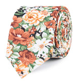 San Pietro Orange Floral Slim Tie