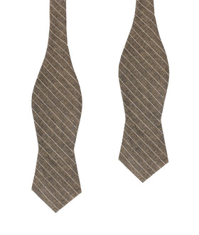 Sandman Linen Pinstripe Diamond Self Bow Tie