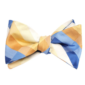 Sandy Checkered Self Tie Bow Tie