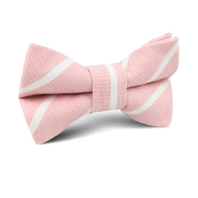 Santorini Pink Blush Striped Linen Kids Bow Tie