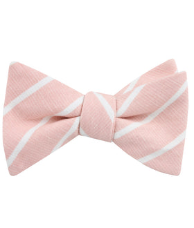 Santorini Pink Blush Striped Linen Self Bow Tie