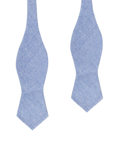 Santorini Blue Zig Zag Linen Diamond Self Bow Tie