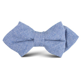 Santorini Blue Zig Zag Linen Kids Diamond Bow Tie