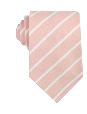Santorini Pink Blush Striped Linen Necktie