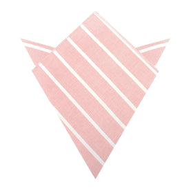Santorini Pink Blush Striped Linen Pocket Square