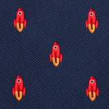 Saturn Red Rocket Necktie Fabric