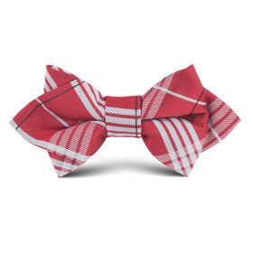 Scarlet Maroon Striped Kids Diamond Bow Tie