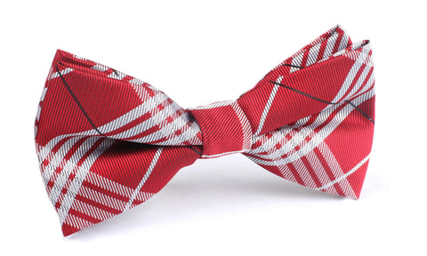 Scarlet Maroon with White Stripes Bow Tie