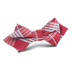 Scarlet Maroon with White Stripes Diamond Bow Tie