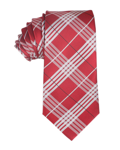 Scarlet Maroon with White Stripes Necktie