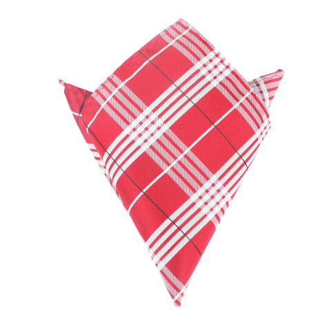 Scarlet Maroon with White Stripes Pocket Square
