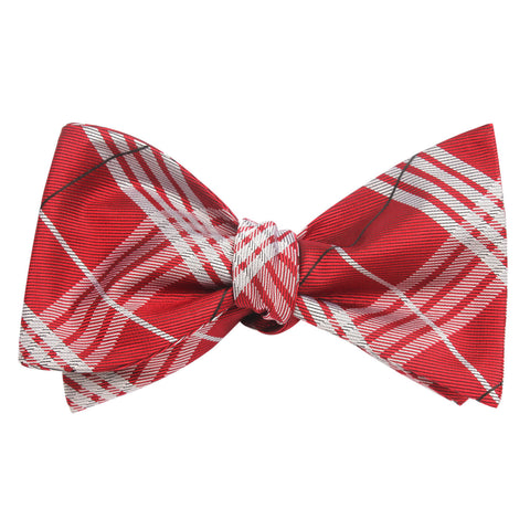 Scarlet Maroon with White Stripes Self Tie Bow Tie