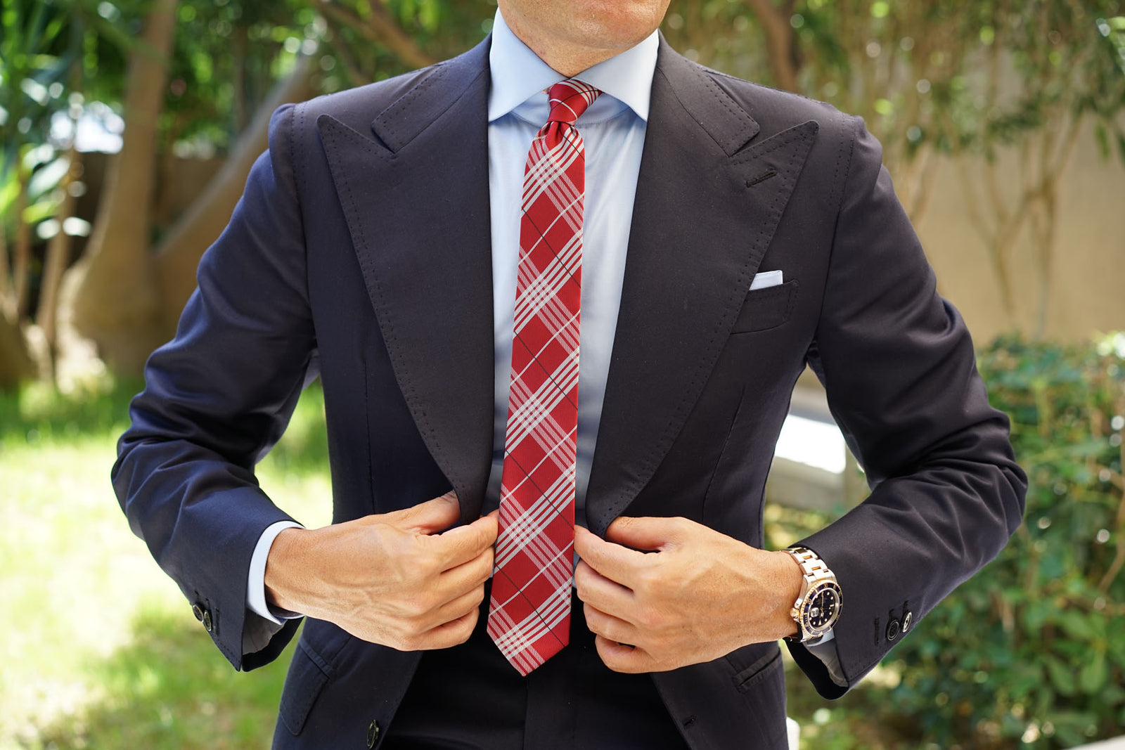 Scarlet Maroon with White Stripes Skinny Tie