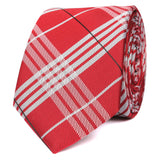 Scarlet Maroon with White Stripes Skinny Tie OTAA roll
