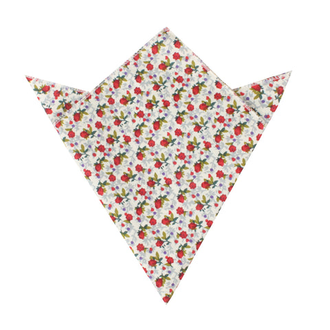 Scarlet Pimpernel Rose Pocket Square