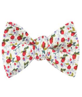 Scarlet Pimpernel Rose Self Bow Tie