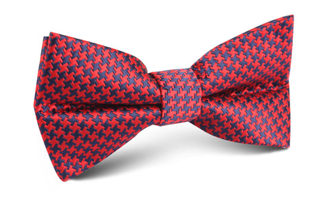 Scarlet Red Houndstooth Bow Tie