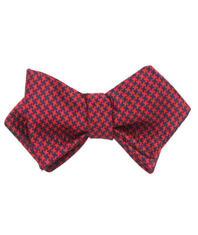 Scarlet Red Houndstooth Diamond Self Bow Tie