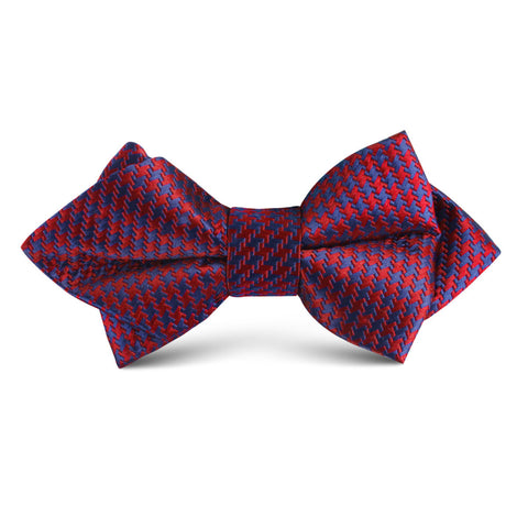 Scarlet Red Houndstooth Kids Diamond Bow Tie