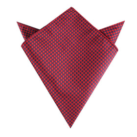 Scarlet Red Houndstooth Pocket Square