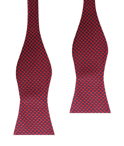 Scarlet Red Houndstooth Self Bow Tie